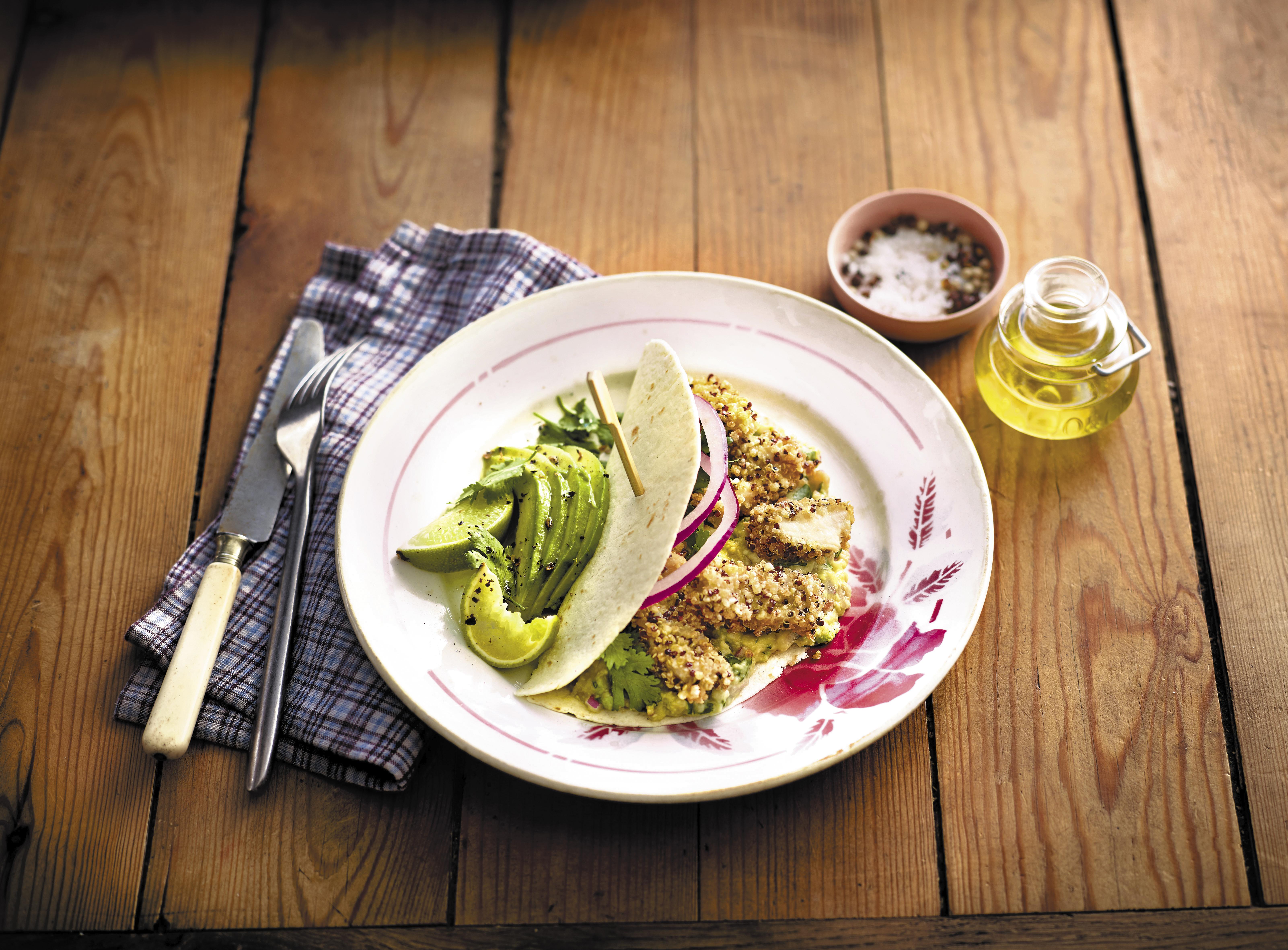 Panse de bœuf à la mexicaine panée au quinoa grillé