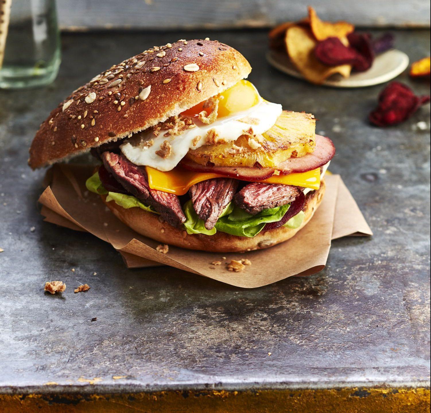 Burger de hampe de bœuf à l'australienne