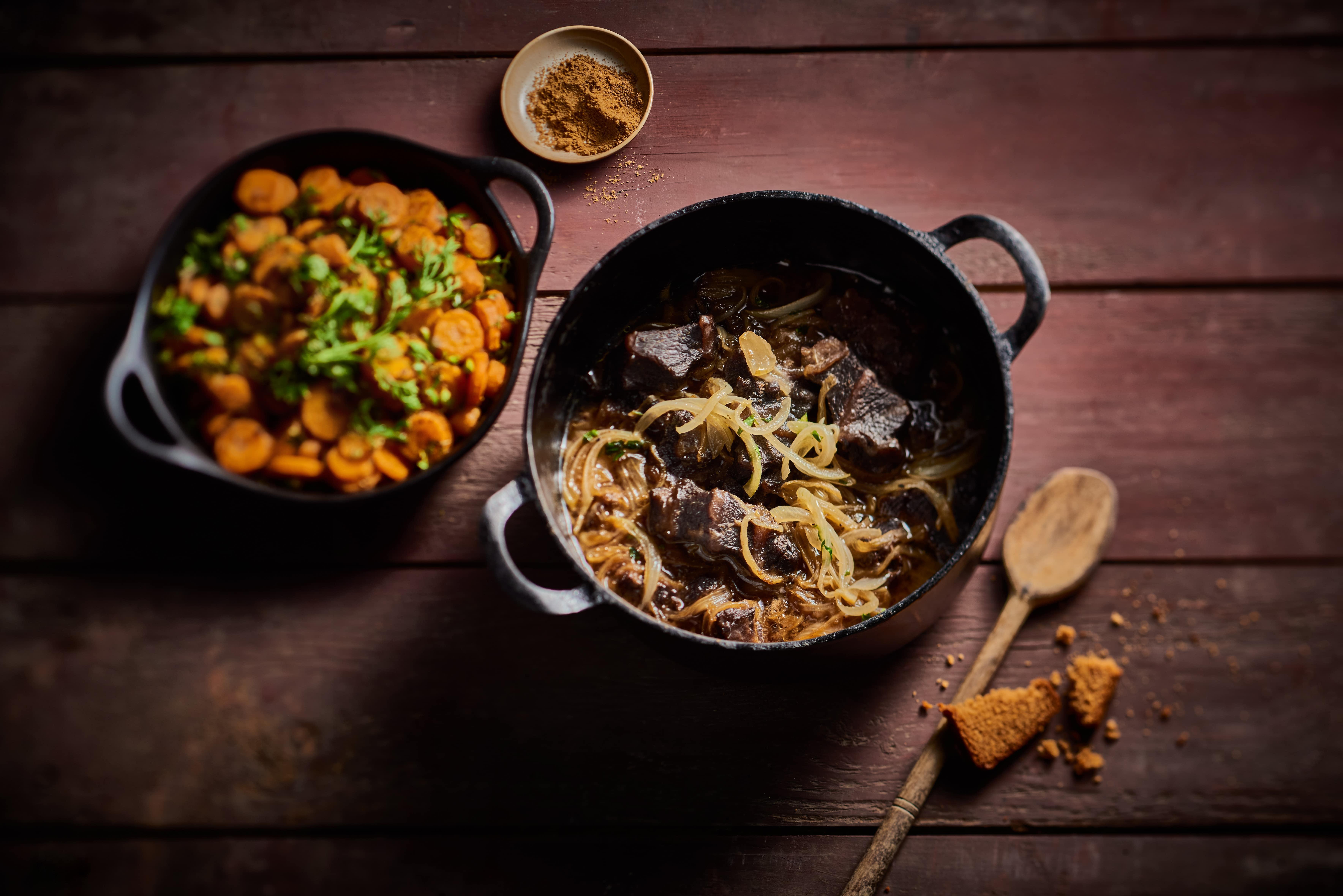 Carbonade de joue de bœuf, carottes au cumin