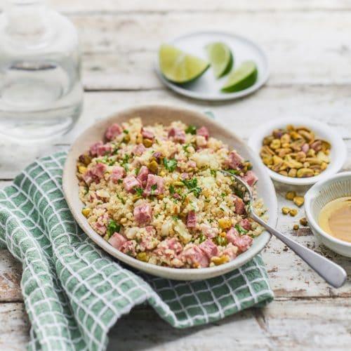Salade de museau, boulgour et pistaches